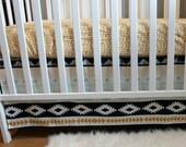 Aztec Modern Crib Skirt - Arid Horizon - Baby Boy Crib Bedding - Straight crib skirt in navy, mint and mustard