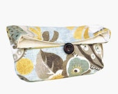 Blue Gray and Gold Floral Clutch Purse, Blue Bridesmaid Gift, Blue Bridesmaid Clutch, Floral Bridesmaid, Floral Cluch, Makeup Bag