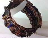 Reserved for JenFulks -  Black and Bronze Carousel Bangle Bracelet .. EBW Team