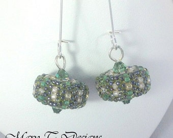 Pink and Green Beaded Bead Earrings... EBW Team