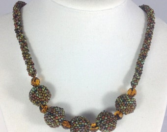 Earth Tone Beaded bead Necklace ... EBW Team