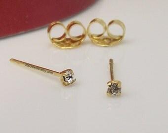Diamond Cartilage Earring - CZ Diamond Tiny Stud Earring - Cartilage Helix Tragus Daith Rook Snug - Gold Stud  XXS 1.5 mm Stud Earrings 421G