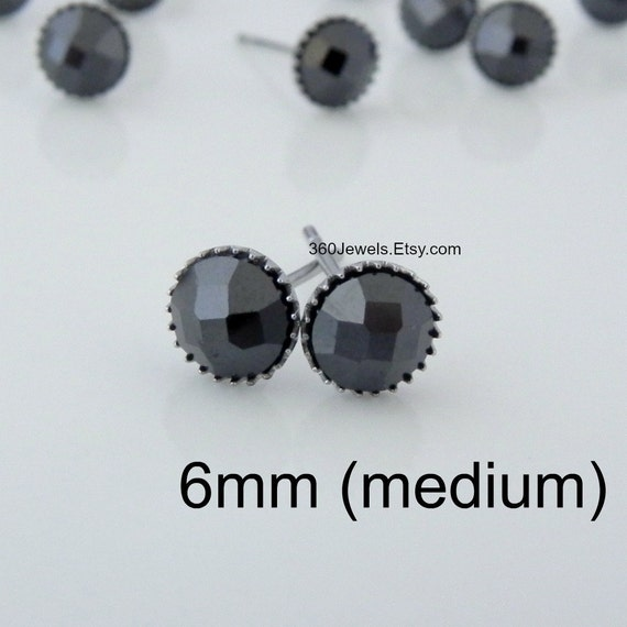 Faceted black stone stud earrings for men luxe for less