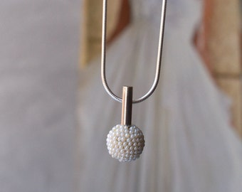 modern wedding pendant necklace  pearly white