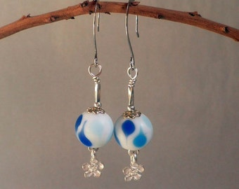 April Showers EARRINGS, lampwork glass and silver