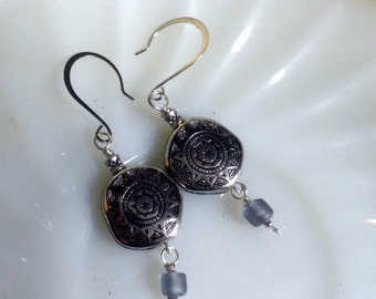 Aztec Sun EARRINGS, dangle, silver and frosted purple glass bead