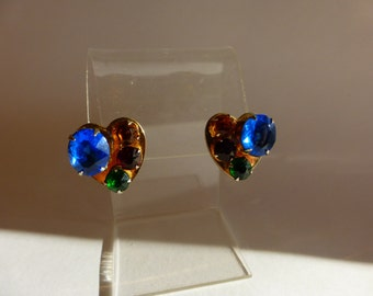 Vintage 50s Heart Earrings with Rhinestones Mid-Cent. Glam