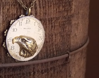 Steampunk Jewelry - Large Eagle Necklace - Vintage Pocket Watch Face - Brass Eagle