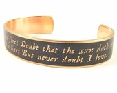 Famous Quotes - Hamlet Jewelry - Shakespeare Skinny Brass Cuff Bracelet - Doubt Thou The Stars Quote - Actor Gift