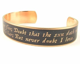 Hamlet Jewelry - Shakespeare Skinny Brass Cuff Bracelet - Doubt Thou The Stars Quote