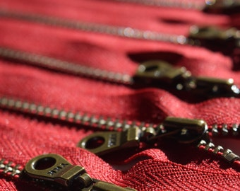 Metal Teeth Zippers- YKK Antique Brass Donut Pull Number 4.5s- 5 pc Cranberry Red 520- Available in 4, 5, 7, 9, 10,11 and 14 inch