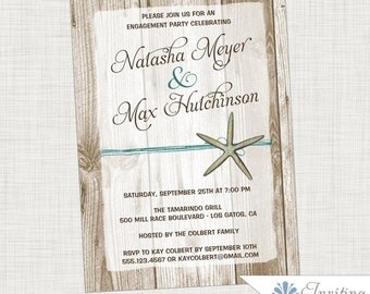 Starfish Engagement Party Invitation, Beach Engagement Party,