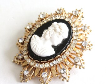 Vintage gold tone Francois signed black cameo brooch, pendant, with rhinestones