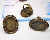 Ring Blanks -- 5pcs Adjustable Antique Bronze Ring Base 18x25mm pad H37 --20% OFF