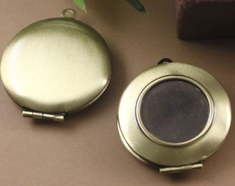 5pcs Antique Bronze 27mm Locket Pendant with 16mm Cameo Setting L07383--20% OFF