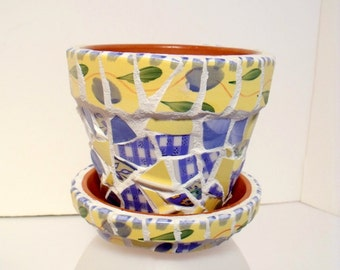 """Mosaic 4"""" Flower Pot with Matching Saucer  Blues and Yellows"""