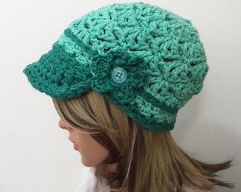 Chunky Mint Shelly Brimster - with Button Flower Applique -  in 100% Cotton