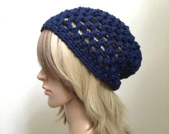 All Season Slouchy Beanie - Crocheted in 100 Percent Chunky Cotton Yarn in Navy