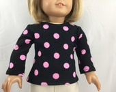 Fits American Girl Doll Handmade T Shirt Cotton Knit Top Black with  Bright Pink Polka Dots
