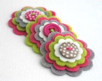 LOTTIE - Handmade Felt Flower Embellishments, Felt Layered Appliques, Felt Blooms,Handmade Felt Flowers, Sewing Applique Set of 3