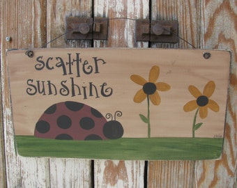 Primitive Lady Bug and Black Eyed Susans Hand Painted Wooden Summer Sign  GCC04548