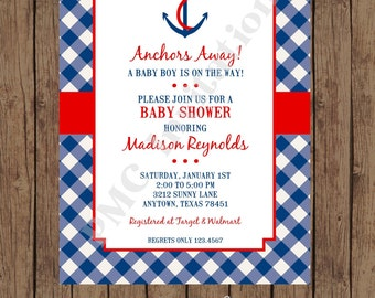 Custom Printed Nautical Baby Shower  Invitations - 1.00 each with envelope