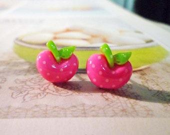 SALE - Mini Polka Dots Apple Stud Earrings