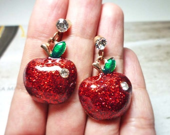 Glitter Apple Drop Stud Earrings