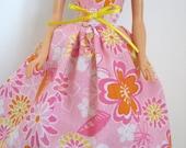 "Ready To Ship Pink 11.5"" Fashion Doll Dress - 11-1/2"" Doll Clothes - Strapless Fashion Doll Dress - Floral Doll Dress"