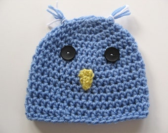 Ready To Ship -  Crocheted Baby Blue Bird Hat - Crochet Bluebird Baby Hat - Blue Bird Baby Hat - Size 3 to 6 Months