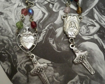 Vintage rosary chains and rosary medal earrings - Sacred heart medals - One of a Kind bycat