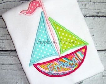 Machine Embroidery Design Applique Sailboat 2 INSTANT DOWNLOAD