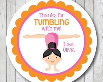 Gymnastics Girl Handstand . Personalized Gymnast Birthday Stickers or Tags