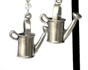 Watering can earrings, antiqued silver pewter gardener earrings, gift for gardener, gift for her, nature
