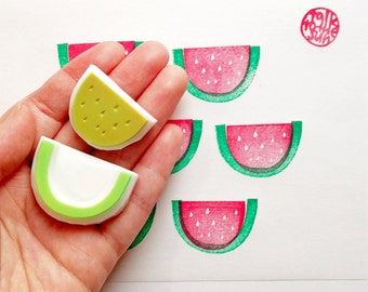 watermelon hand carved rubber stamp. fruits stamp. birthday scrapbooking. gift wrapping. summer craft projects. set of 2