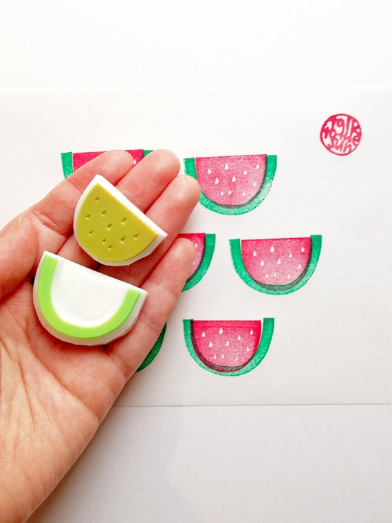 watermelon hand carved rubber stamp. fruits stamp. birthday scrapbooking. card making. gift wrapping. summer craft projects. set of 2