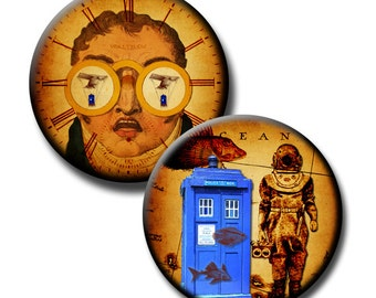 Flight of the Tardis - 2.625 inch circles - For 2.25 inch BUTTON MACHINES