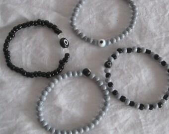Black/Gray evil eye seed bead bracelet for kids, for boys/girls