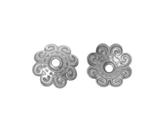 Flower bead caps hypoallergenic stainless steel 10mm beadcaps