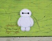 Embroidered set of 4 UNCUT Inspired baymax feltie applique embellishment bow center