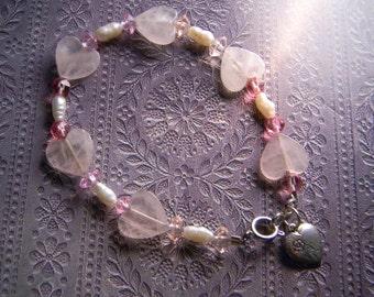 Rose Quartz Hearts, Freshwater Pearls, Swarovski Crystals