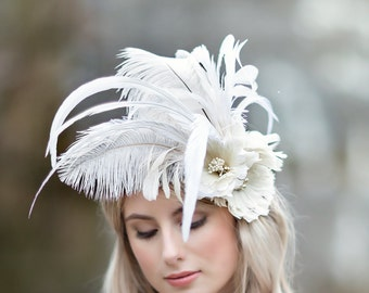 Bridal Fascinator, Ivory Feather Fascinator, Bridal Headpiece, Feather Headpiece, Feather Hair Clip, Feather Flowers
