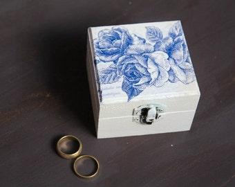 White Ring Bearer Pillow Box with Flowers, Handmade Pillow Alternative