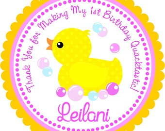 Rubber Ducky Stickers, Personalized Labels, 1st Birthday Party, Rubber Ducky Party - Set of 12