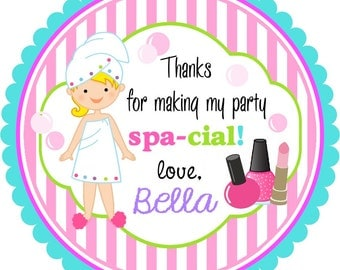 Spa Stickers,Spa Birthday Party Stickers, Spa Favor Tags -Set of 12