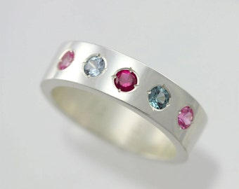 5 Stone Mother Ring in Sterling Silver (Made to Order)
