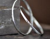 2 inch round forged sterling silver hoop earrings, forward facing hoops endless, self locking, eco friendly