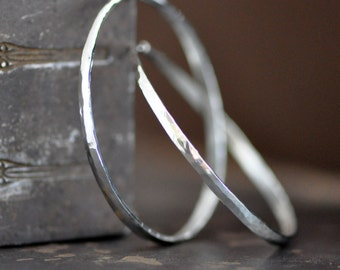 2 inch round forged sterling silver hoop earrings, forward facing hoops endless, self locking, eco friendly