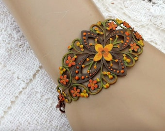 Hand painted filigree bracelet , bright fall colors, featured in Belle Armoire Jewelry