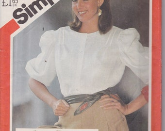 Simplicity 5587 Misses' Blouses Size 12 Vintage UNCUT Pattern Rare and OOP
